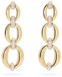 Nadine Aysoy Catena Diamond & 18kt Gold Triple-link Earrings - Metallic