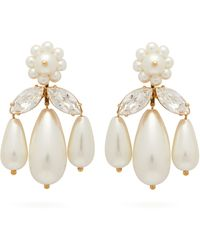 Simone Rocha Crystal And Faux-pearl Drop Earrings - Multicolour