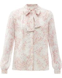 Giambattista Valli Floral-print Pussy-bow Silk-chiffon Blouse - Pink