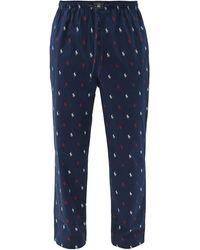 Polo Ralph Lauren Logo-print Cotton Pajama Pants - Blue