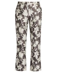 OSMAN - Yasmin Floral And Bug-brocade Cropped Trousers - Lyst