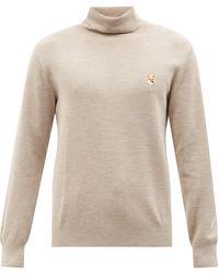 Maison Kitsuné Fox Head Roll-neck Wool Sweater - Natural