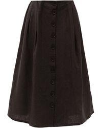 ART SCHOOL ナース プリーツ リネンスカート - ブラック