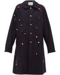 Bode Beaded Wool Single-breasted Coat - Blue