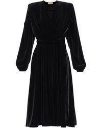 Alexandre Vauthier パデッドショルダー ベルベットラップドレス - ブラック