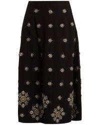 Elizabeth and James - Lottie Embellished Crepe Midi Skirt - Lyst