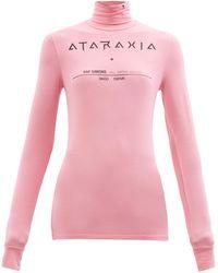 Raf Simons Ataraxia-print Roll-neck Jersey Long-sleeved Top - Pink