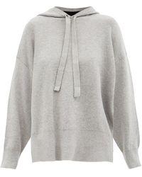 PROENZA SCHOULER WHITE LABEL Oversized Cotton-blend Knit Hooded Sweatshirt - Grey