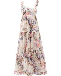 Zimmermann Brighton Tiered Floral-print Cotton Dress - Multicolor
