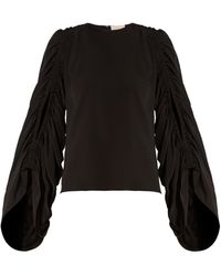 ROKSANDA Safiya Ruched-sleeve Silk-georgette Blouse - Black