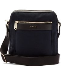 Paul Smith Leather-trim Cotton-canvas Cross-body Bag - Blue