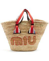 Miu Miu - Logo-embroidered Basket Bag - Lyst