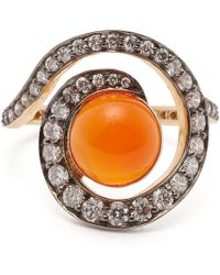 Noor Fares - Planet Carnelian & Diamond Spiral Ring - Lyst