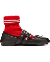 Miu Miu - Sock Leather Ballet Flats - Lyst