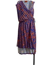 Colville Asymmetric Pleated Midi Dress - Blue