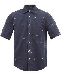 Phipps エンブロイダリー オーガニックコットンポプリンシャツ - ブルー