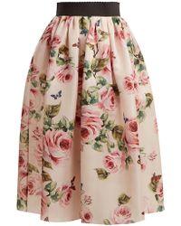 Dolce & Gabbana   Rose And Butterfly-print Silk-organza Skirt   Lyst