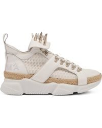 Marques'Almeida Spike-studded Leather & Raffia High-top Trainers - White