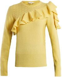 Erdem | Dharma Ruffle-trimmed Knit Sweater | Lyst