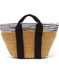 Muuñ George Striped-canvas And Straw Bag - Multicolour