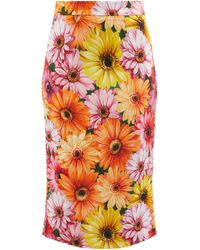 Dolce & Gabbana - フローラルクレープ ペンシルスカート - Lyst