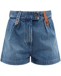Loewe High-rise Leather-trim Pleated Denim Shorts - Blue