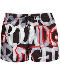 Dolce & Gabbana - Graffiti Print Swim Shorts - Lyst