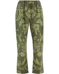 By Walid Leo 19th-century Printed Chinese Silk Trousers - Green