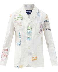 Junya Watanabe Blazer en coton mélangé à patchwork brodé - Blanc