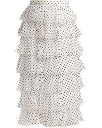 Rodarte Flocked Polka-dot Chiffon Skirt - White