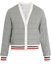 Moncler Gamme Bleu - Striped Trim Quilted Down Bomber Jacket - Lyst