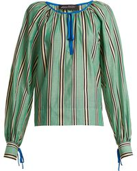 Anna October - Stripe Printed Round Neck Cotton Blouse - Lyst
