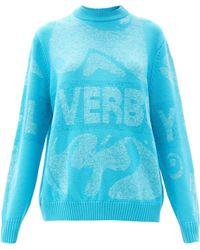 Charles Jeffrey LOVERBOY ロゴインターシャ セーター - ブルー