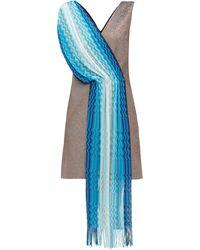 M Missoni ヴィンテージスカーフ ラメミニドレス - ブルー