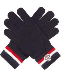 Moncler Gants en laine à appliqué logo et bord rayé - Bleu