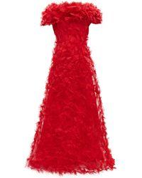 Rodarte Rosette-appliqué Tulle Gown - Red