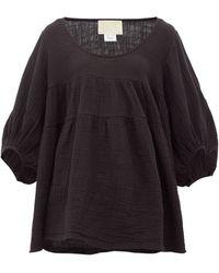Anaak Brigitte Babydoll Scoop-neck Cotton Top - Black
