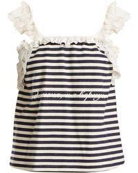 Natasha Zinko | Floral Lace-trimmed Stripe Top | Lyst