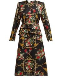 ddecd60615f Gucci Floral And Snake-print Silk Midi Dress in Black - Lyst