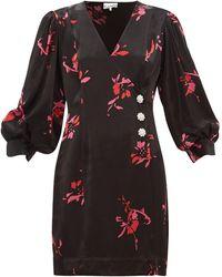 Ganni フローラルサテン ラップドレス - ブラック