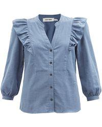 Cefinn Dixie Ruffled Organic Cotton-flannel Blouse - Blue