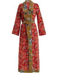 Anjuna Selene Paisley-print Silk Robe - Red