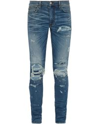 Amiri - Extreme Distress Slim Leg Jeans - Lyst