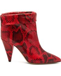 Isabel Marant Lisbo Ankle Boots - Red