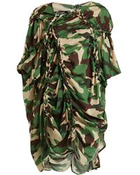 Junya Watanabe - Gathered Detail Camouflage Print Woven Dress - Lyst