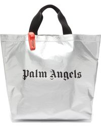 Palm Angels Logo Print Metallic Tote Bag