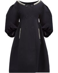 Simone Rocha Double-breasted Pearl-embellished Cotton Coat - Blue