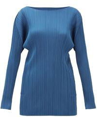 Pleats Please Issey Miyake Technical Pleated Tunic Top - Blue