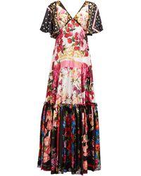 Dolce & Gabbana Scarf & Polka Dot-print Silk Charmeuse Gown - Red