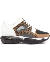 Fendi Exaggerated-sole Leather And Mesh Sneakers - Black